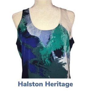 EUC Halston Heritage Watercolor Shell, Back Zip